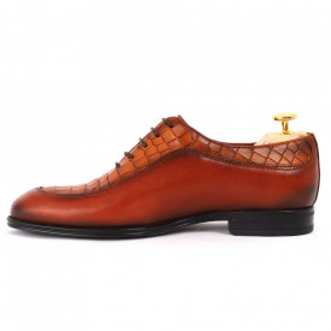 Pantofi din piele naturală pentru bărbați cod 912 Maro Deschis - Pantofi din piele naturală, model simplu, finisaje îngrijite cu undesign deosebit - Deppo.ro