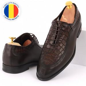 Pantofi din piele naturală pentru bărbați cod 912 Maro Închis