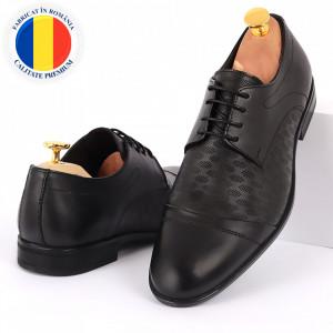Pantofi din piele naturală pentru bărbați cod 9210 Negri