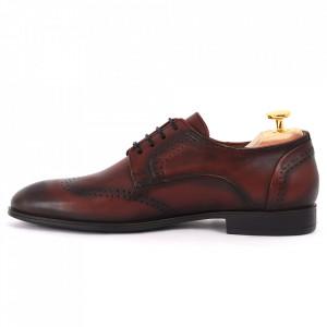 Pantofi din piele naturală pentru bărbați cod 967 Bordo - Pantofi din piele naturală moale pentru bărbați, model simplu, finisaje îngrijite - Deppo.ro
