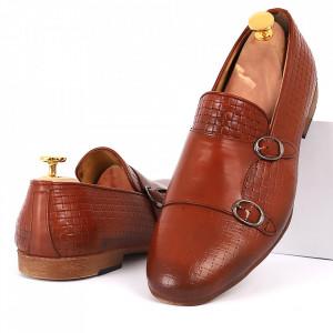 Pantofi din piele naturală pentru bărbați cod DRLEO01 Maro
