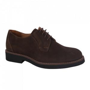 Pantofi din piele naturală pentru bărbați cod P180 Maro Inchis