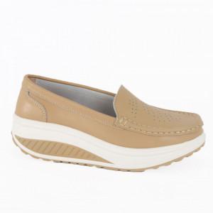 Pantofi din piele naturală pentru dame cod A339 Beige