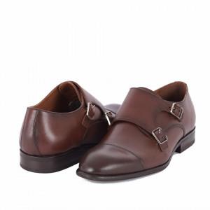 Pantofi din piele naturală Peter Maro Închis - Pantofi maro din piele naturală, model simplu, finisaje îngrijite cu undesign deosebit prin vârful perforat - Deppo.ro