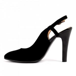 Pantofi pentru dame cod VN5106 D.Blue - Pantofi cu toc din piele ecologică lăcuită  Toc subțire  Calapod comod - Deppo.ro