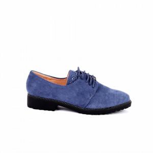 Pantofi pentru dame F17 Albaștri - Pantofi pentru dame, din piele ecologica întoarsă, cu închidere prin șiret - Deppo.ro