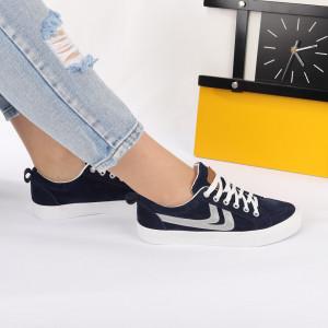 Pantofi Sport Ellen Navy - Pantofi sport pentru dame foarte comodă și ușoară -piele ecologică întoarsă cu închidere prin șiret - Deppo.ro