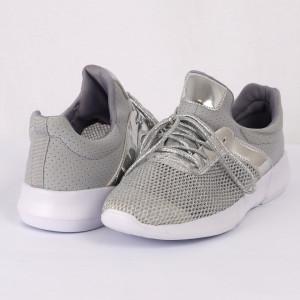 Pantofi Sport pentru dame Cod 16-216 Silver - Pantofi sport din piele ecologică întoarsă  Model cu sclipici  Închidere prin șiret  Foarte comfortabili - Deppo.ro