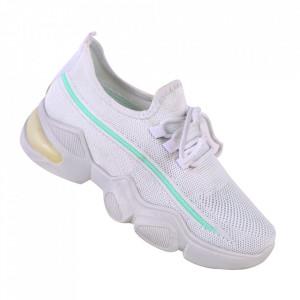 Pantofi sport pentru dame cod 86001 White/Green