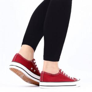 Pantofi sport pentru dame Cod TEN85-Visiniu - Pantofi sport pentru dame,din material textil  Foarte ușori și comozi  Închidere prin șiret. - Deppo.ro