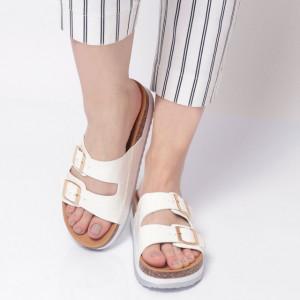 Papuci Damă din piele ecologica cod AG-001 White