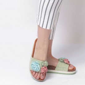 Papuci Damă din piele ecologica cod AG-005 Green