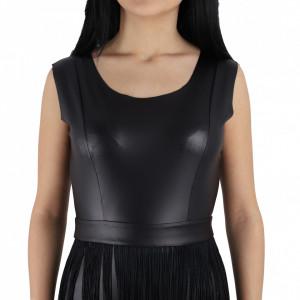 Rochie Jakayla Black - Rochie elegantă, mulată din piele ecologică, completează-ți ținuta și strălucește la următoarea petrecere. - Deppo.ro