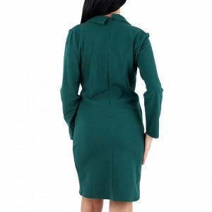 Rochie Jasmin Verde - Rochie verde elegantă tip sacou cu maneci lungi şi doi nasturi pentru decor, pune-ți silueta în evidență și atrage toate privirile. - Deppo.ro