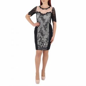 Rochie Julie Black - Rochie neagră scurtă cu mâneci trei sfert şi un design unic ce îţipune-ți silueta în evidență și atrage toate privirile - Deppo.ro