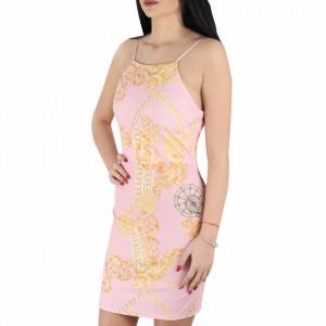 Rochie Teresa Pink - Rochie de zi casual cu decor floral, pentru o ținută lejeră datorita croiului îți asigura libertatea de mișcare. - Deppo.ro
