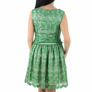 Rochie Vios Green - Rochie verde elegantă cu material dantelat, pune-ți silueta în evidență și atrage toate privirile - Deppo.ro