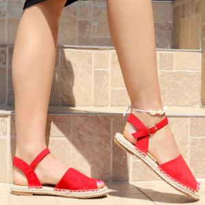 Sandale pentru dame cod F32 Red - Sandale pentru dama din piele ecologică întoarsă  Închidere prin baretă  Calapod comod - Deppo.ro