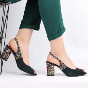 Sandale pentru dame din piele naturală cod 1072 Verde