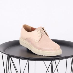 Pantofi din piele naturală bej Cod 483