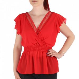 Bluză pentru dame tip cămășuță cod 1938 Red