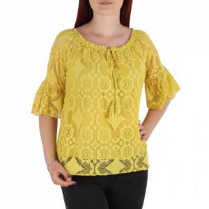 Bluză pentru dame tip cămășuță cod 87470 Yellow