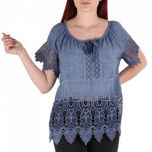Bluză pentru dame tip cămășuță cod 91071 Blue