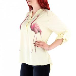 Cămașă pentru dame cod FF90 Galbenă - Cămașăpentru dame Model decorativ cu flamingo - Deppo.ro