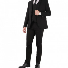 Costum slim fit 6543 Negru