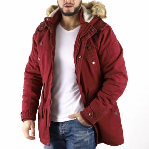 Geacă de iarnă Aron Vişinie - Geacă lungă stilată de iarnă pentru bărbaţi din doc şi interior căptuşit prevăzută cu glugă îmblănită, în partea din faţă jacheta este prevăzută cu un fermoar lung rezistent şi capse. - Deppo.ro