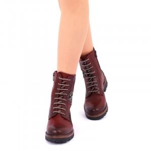 Ghete din piele naturală pentru dame cod 226 Roși - Ghete din piele naturală cu interior îmblănit și inchidere cu șiret și fermoar - Deppo.ro