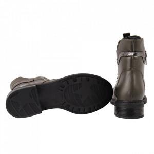 Ghete din piele naturală pentru dame cod 4329 ARMY GREEN - Ghete din piele naturală Interior cu căptușeală - Deppo.ro