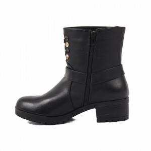 Ghete pentru dame cod LL26 Negre - Ghete pentru dame din piele ecologică decorate cu inserții metalice - Deppo.ro