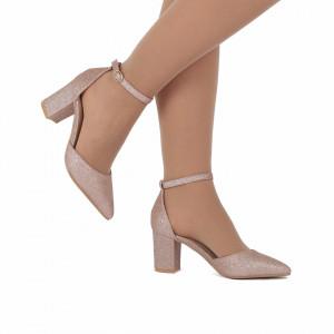 Pantofi cu toc cod 30875 Champagne