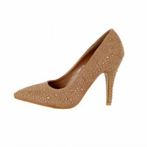Pantofi cu toc cod 3C0077 Bej - Pantofi cu toc ascuțit din piele ecologică întoarsă - Deppo.ro