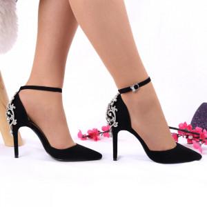 Pantofi cu toc cod 41312 Negri