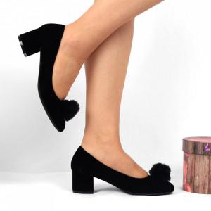Pantofi cu toc Cod 4667 Negri - Pantofi pentru dame din piele ecologică întoarsă Conferă lejeritate și eleganță - Deppo.ro