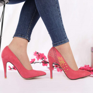 Pantofi cu toc cod A259 Coral