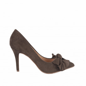 Pantofi cu toc cod AF67896 Olive - Pantofi cu toc ascuțit din piele ecologică întoarsă, culoare maro măsliniu cu o fundiță de decor - Deppo.ro