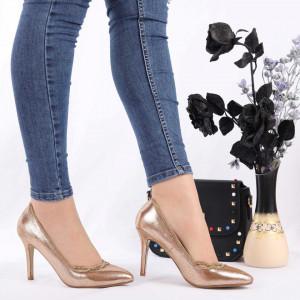 Pantofi Cu Toc cod CL42 Champagne