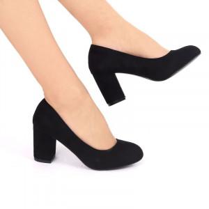 Pantofi cu toc cod EK0008 Negri - Pantofi din piele ecologică de înalta calitate cu vârf rotund şi toc gros - Deppo.ro