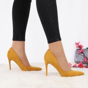 Pantofi cu toc cod EK0033 Galben