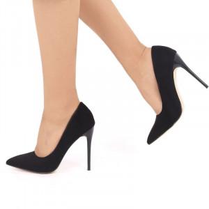 Pantofi cu toc cod EK0033 Negri - Pantofi din piele ecologică intoarsă cu vârf subțire, confortul purtării este sporit de tălpicul din piele ecologică - Deppo.ro