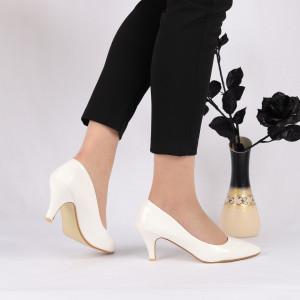 Pantofi cu toc cod O1229 Albi