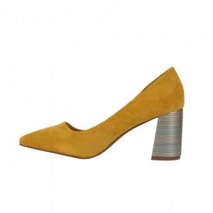 Pantofi cu toc cod OD0204 Galbeni - Pantofi cu toc gros cu un model deosebit și vârf ascuțit din piele ecologică întoarsă, foarte confortabili potriviți pentru birou sau evenimente speciale. - Deppo.ro