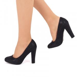 Pantofi cu toc cod SH861 Negri - Pantofi negrii din piele ecologică cu vârf rotund, confortul purtării este sporit de tălpicul din piele ecologică - Deppo.ro