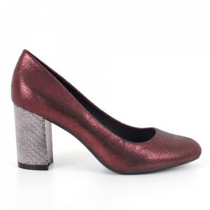 Pantofi cu toc din piele ecologică cod C-99 Red