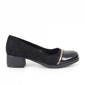 Pantofi cu toc din piele ecologică cod X-19 Black