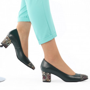 Pantofi cu toc din piele naturală cod 04 Verde