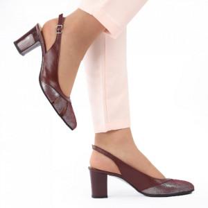 Pantofi cu toc din piele naturală cod 1069 Bordo - Pantofi cu toc din piele naturală moale  Acești pantofi vă conferă lejeritate și elegantă  Închidere prin baretă - Deppo.ro